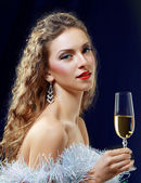 Woman drinking Champagne — Stock Photo