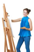 Women painter with easel — Stock Photo