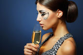 žena pít šampaňské — Stock fotografie