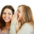 Two happy girls friends wispering — Stock Photo