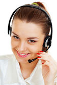 Headset woman from call center — Stock Photo