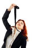 Vrouw wurgen zelfmoord met zelf stropdas — Stockfoto
