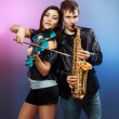 Couple of professional musicians - Stock Photo