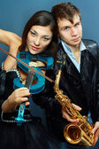 Couple of professional musicians — Stock Photo
