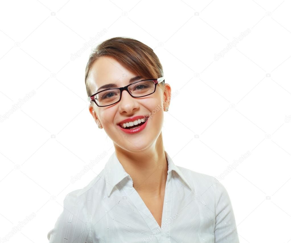 Beautiful young woman smiling with her new pair of eyeglasses isolated on white background  Stock Photo #18712429