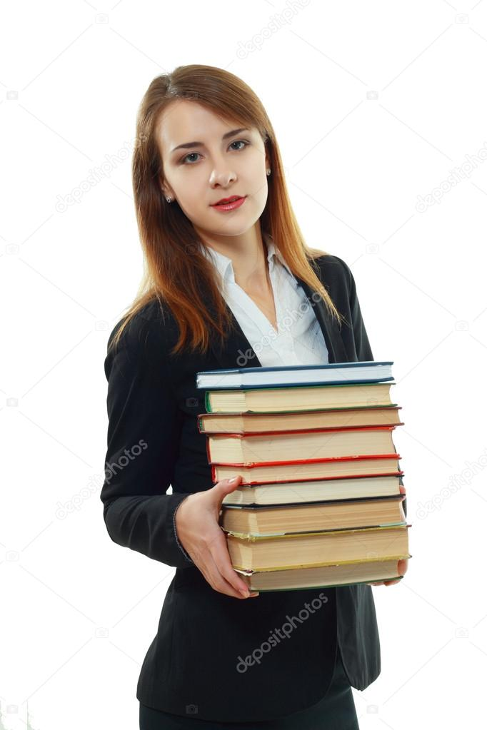 Beautiful smiling college student girl holding pile of books — Stock Photo #18713997