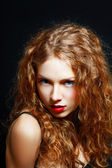 Girl Curly Red Hair — Stock Photo