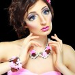 Model with barbie doll make-up — Stock Photo