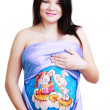 Pregnant woman with body art — Stock Photo