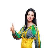 Donna con pollice in su — Foto Stock