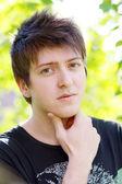 Mladý muž myšlení — Stock fotografie