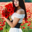 Stock Photo: Girl in poppies field