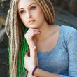Fashion hairstyle with dreads — Stock Photo