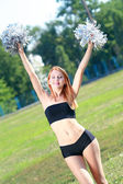 Beauty cheerleader — Stock Photo