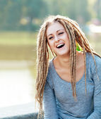 Woman with dreads making face — Stok fotoğraf