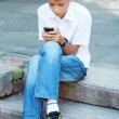 Boy ten years with Cell Phone — Stock Photo