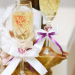 Glasses prepared for wedding — Stock Photo