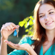 Woman holding up a set of keys — Stock Photo #31246449