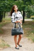 Schoolgirl Outdoor — Stock Photo