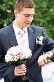 Groom waiting for bride — Fotografia Stock