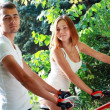 Couple with their bikes — Stock Photo #34303455