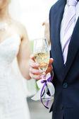 Celebrates champagne — Stock Photo