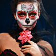 Stock Photo: Halloween make up sugar skull