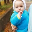 Toddler girl in fall time — Stock Photo