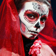 Halloween make up sugar skull — Stok fotoğraf