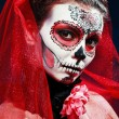 Halloween make up sugar skull — Stockfoto