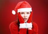 Happy girl in santa cloth — Stock Photo