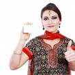 Indian woman hold card — Stock Photo