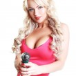 Model with a screw gun — Stock Photo