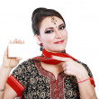 Indian woman hold card — Stock Photo #40220565