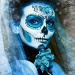 Stock Photo: Make up sugar skull model