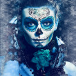 Stock Photo: Winter make up sugar skull
