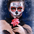Stock Photo: Wommake up sugar skull