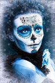 Make up sugar skull model — Fotografia Stock