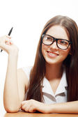Woman smiling with her eyeglasses — Stock Photo