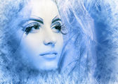 Woman with silver blue ice tint — Stock Photo