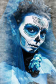 Make up sugar skull model — Stock Photo