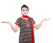 Indian woman against white background — Stock Photo