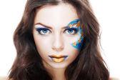 Woman with creative art make up — Stockfoto