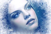 Woman with silver blue ice tint — 图库照片