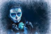 Make up sugar skull model — Stock Photo
