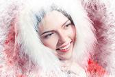 Girl in santa cloth — Stock Photo