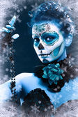 Woman make up sugar skull — Stock Photo