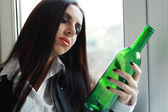 Woman in depression drinking alcohol — Foto de Stock