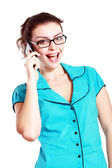 Smiling woman making call — Stock Photo