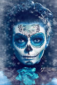 Winter make up sugar skull — Stock Photo